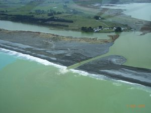 An aerial view showing the lake opening. Photos supplied by Environment Canterbury.