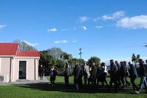 David Murphy and manuhiri being welcomed onto Ngāti Mōki Marae at Taumutu in August.