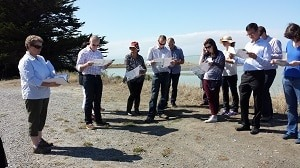 Adrienne Lomax from WET talking to the group at Fisherman's Point.