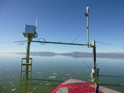 The new monitoring system in the centre of the lake.