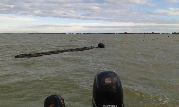 Wave barrier in place at Te Waihora